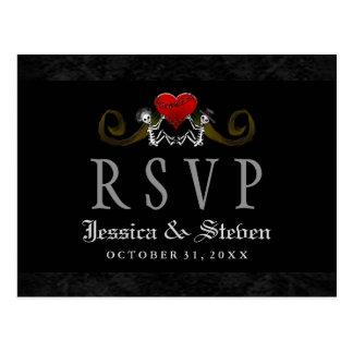 Halloween-Skelette u. Herz-Hochzeit MENÜ-UAWG Postkarten