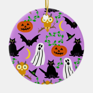 Halloween-Thema-Collagen-Wurf-Muster lila Rundes Keramik Ornament