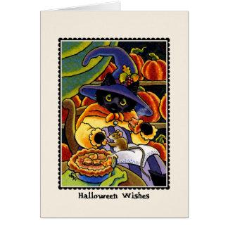 Halloween-Torte! Katze u. Maus Notecard Karte