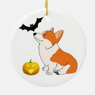 Halloween Waliser Corgi Keramik Ornament