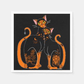 Halloween-Weide-Muster-Katzen Serviette