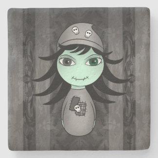 Halloween-Zombiemädchen Steinuntersetzer