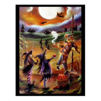 Halloweengrüße, -vogelscheuche und -freunde postkarten