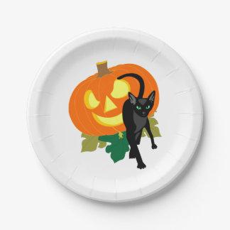 Halloweenkatze und -kürbis pappteller