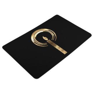 Halo um Kerzen-Flammen-Schwarzes und Gold elegant Bodenmatte