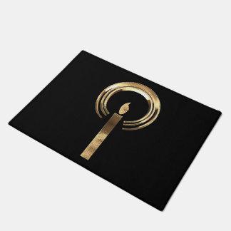 Halo um Kerzen-Flammen-Schwarzes und Gold elegant Türmatte