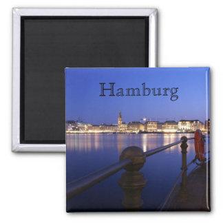 Hamburg Binnenalster blaue Stunde Magnet Quadratischer Magnet