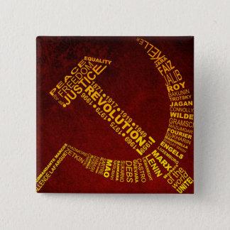 Hammer und Sichel mit Namen und Jahren Quadratischer Button 5,1 Cm