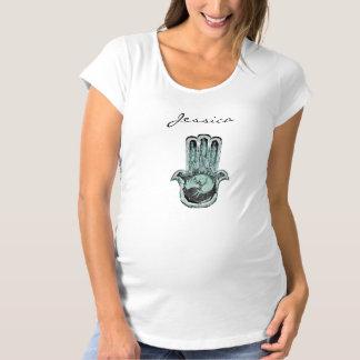 Hamsa Baum-Leben (Blau/Grün) Schwangerschafts T-Shirt