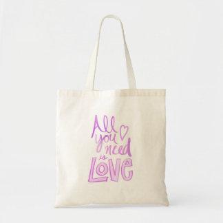 Hand beschriftet, rosa Liebe-Tasche Budget Stoffbeutel