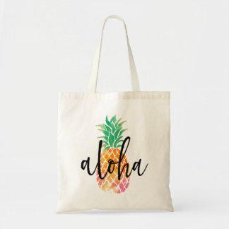 Hand beschriftete aloha tropische Aquarellananas Budget Stoffbeutel