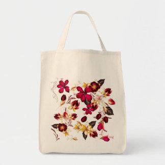 Hand gezeichnete Volkstasche: mit Blumen Einkaufstasche