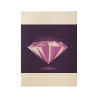 Hand gezeichneter Diamant: auf Holz Holzposter