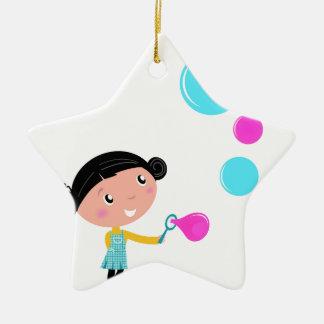Hand gezeichnetes Blase Mädchen: Kreative T - Keramik Stern-Ornament