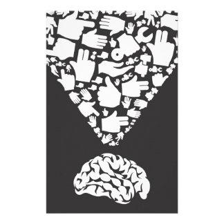 Hand vom Gehirn Personalisiertes Büropapier