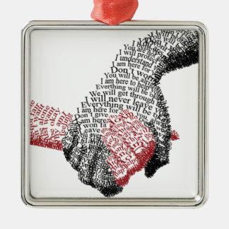 Hände halten, erobert Liebe alle Silbernes Ornament