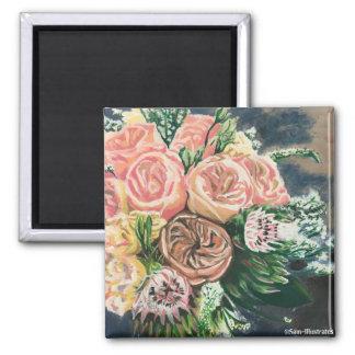 Handgemalter Blumenstrauß-Magnet Quadratischer Magnet
