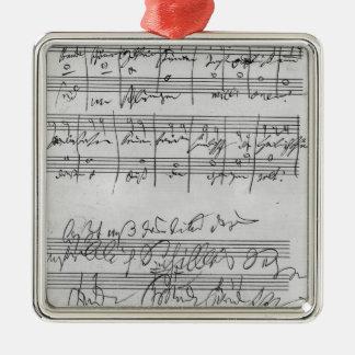 Handgeschriebene Partitur Quadratisches Silberfarbenes Ornament
