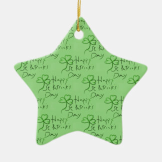 Handgeschriebenen glücklichen St Patrick Keramik Stern-Ornament