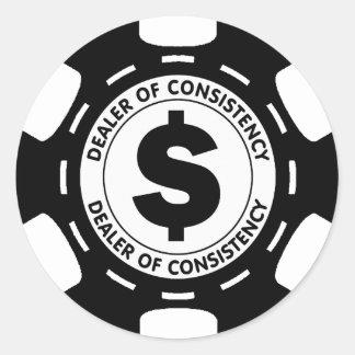 Händler des Übereinstimmungs-Poker-Chips Runder Aufkleber