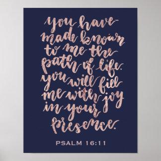 Handmit buchstaben gekennzeichnete Psalm-16:11 Poster