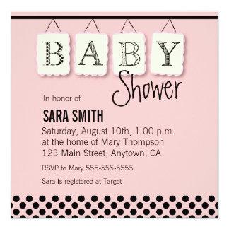 Hängende Buchstaben BABY Rosa-Babyparty-Einladung Karte