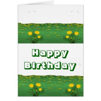 Happy Birthday-blühender Löwenzahn gemalt Grußkarte