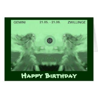 happy birthday --zodiac - Zwillinge Grußkarte