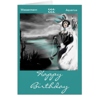 happy birthday zodic aquarius-wassermann grußkarte