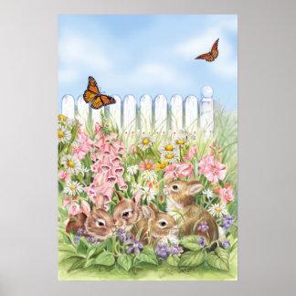 Häschen im Garten Poster
