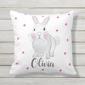 Häschen-Kaninchen-rosa Stellen-personalisiertes Kissen Für Draußen
