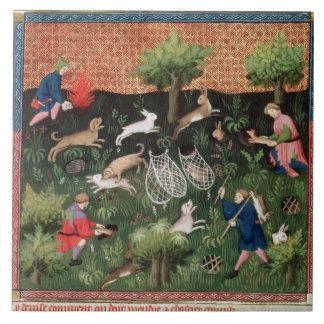 Hasen Jagd fol.92 Frau-Fr 616, vom Livrede Große Quadratische Fliese