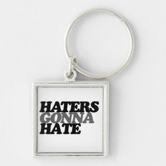 Hasser, die gehen zu hassen silberfarbener quadratischer schlüsselanhänger