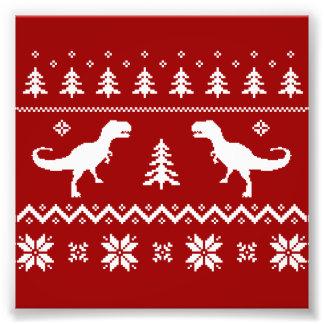 Hässliche T-Rex Dinosaurier-Weihnachtsstrickjacke Fotografische Drucke