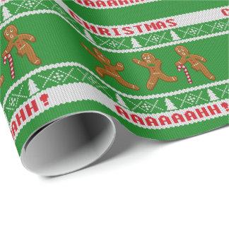 Hässliche Weihnachtenstrickjacke erschrockenes Geschenkpapier