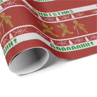 Hässliche Weihnachtsstrickjacke erschrockene Geschenkpapier