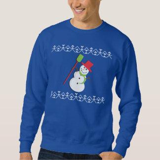 Hässlicher Weihnachtsstrickjacke-Schneemann Sweatshirt