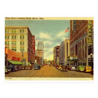 Hauptst., Akron, Ohio Vintag Postkarte