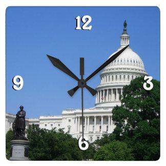 Hauptstadts-Gebäude in Washington DC Quadratische Wanduhr