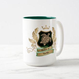 Haus der Schildkröte-Wappen-Entwurfs-Tassen - Zweifarbige Tasse