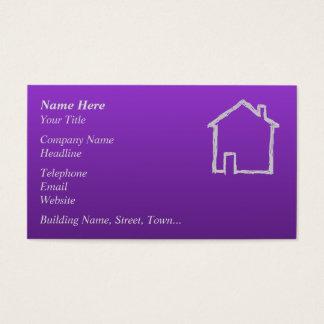 Haus-Skizze. Grau und Purpur Visitenkarte