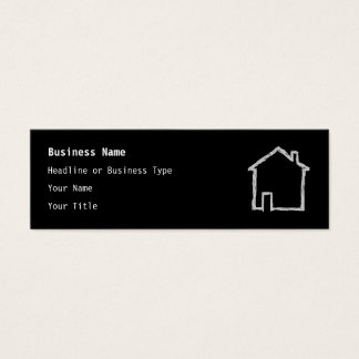 Haus-Skizze. Grau und Schwarzes Mini-Visitenkarten