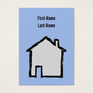 Haus-Skizze. Schwarzes und Blau Visitenkarte