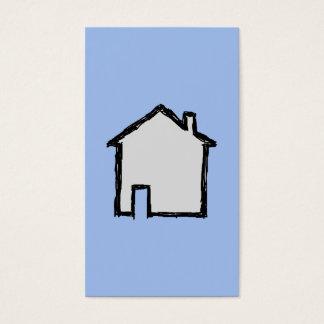 Haus-Skizze. Schwarzes und Blau Visitenkarten