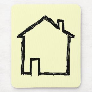 Haus-Skizze. Schwarzes und Creme Mauspad