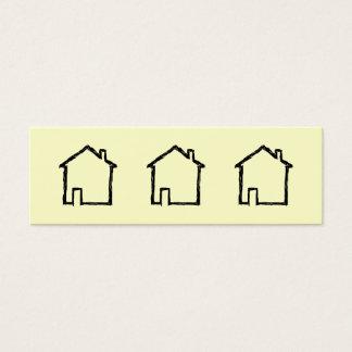 Haus-Skizze. Schwarzes und Creme Mini Visitenkarte
