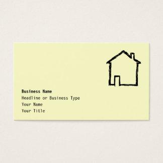 Haus-Skizze. Schwarzes und Creme Visitenkarten