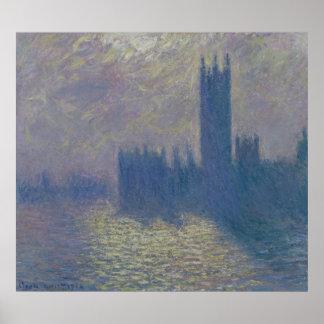 Häuser Claude Monets   des Parlaments, stürmischer Poster