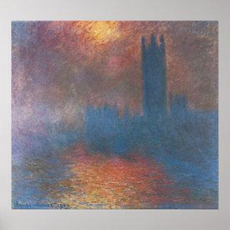 Häuser des Parlaments, London durch Claude Monet Poster