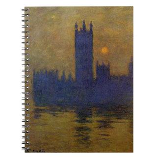 Häuser des Parlaments, Sonnenuntergang 02 durch Spiral Notizbuch